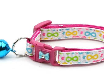 Colorful Cat Collar - Brightly Colored Bows - Small Cat / Kitten Size or Large Size