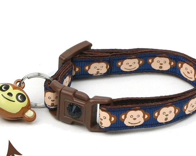 Monkey Cat Collar - Monkey Faces on Navy Blue - Small Cat / Kitten Size or Large Size