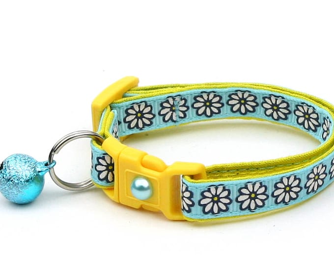 Flower Cat Collar - White Daisies on Light Blue - Small Cat / Kitten Size or Large Size