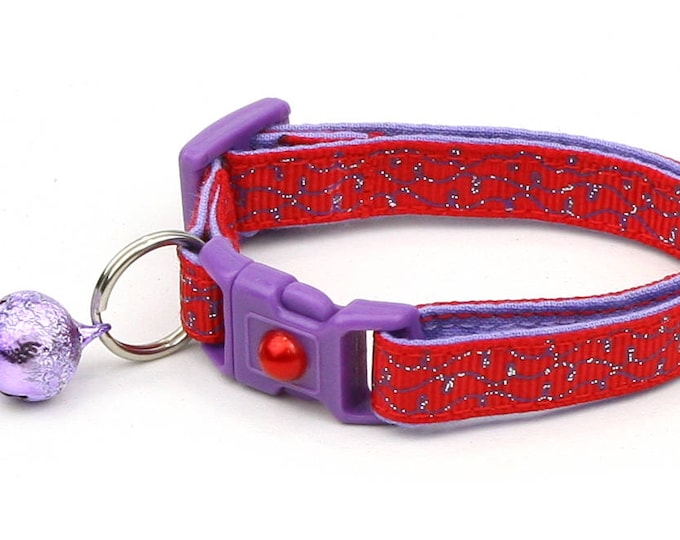 Red Cat Collar - Purple Squiggles on Red - Purple Swirls on Red - Doodles - Kitten or Large Size B34D160
