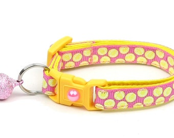 Tennis Cat Collar - Tennis Balls on Pink - Small Cat / Kitten Size or Large Size