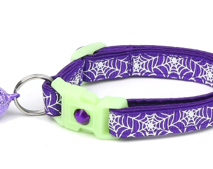 Spider Cat Collar - Glowing Spiderwebs on Purple - Small Cat / Kitten or Large Cat Collar - Glow in the Dark B107