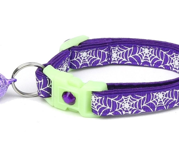 Spider Cat Collar - Glowing Spiderwebs on Purple - Small Cat / Kitten or Large Cat Collar - Glow in the Dark