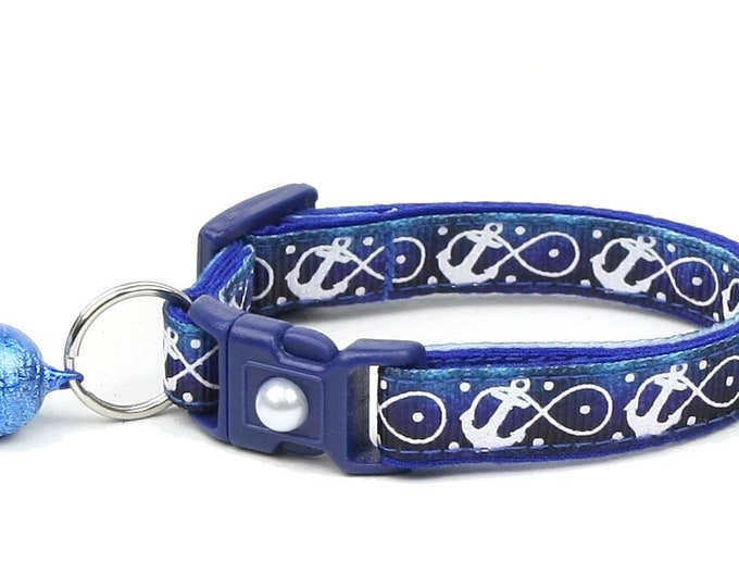 Nautical Cat Collar - Infinity Anchors on Ocean Blue - Kitten or Large Size