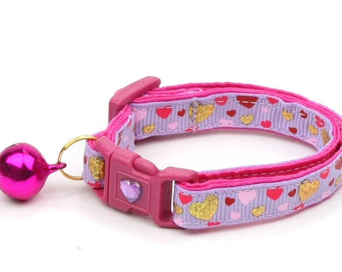 Valentines Day Cat Collar - Raining Hearts on Purple - Kitten or Large Size