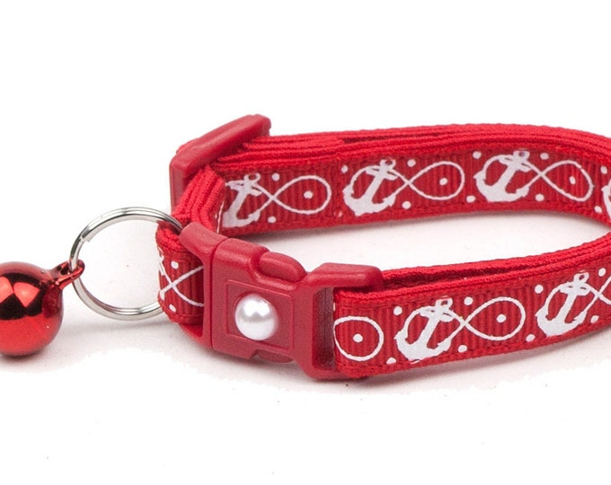 Nautical Cat Collar - Infinity Anchors on Red - Kitten or Large Size