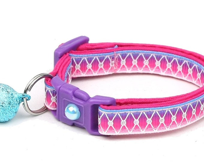 Purple Cat Collar - Diamond Mesh over Pink, Purple, and Blue Ombre - Small Cat / Kitten or Large Cat Collar B21
