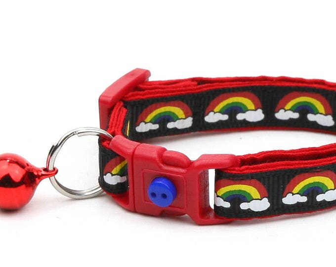 Rainbow Cat Collar - Rainbows and Clouds on Black -Small Cat / Kitten Size or  Large Size Collar
