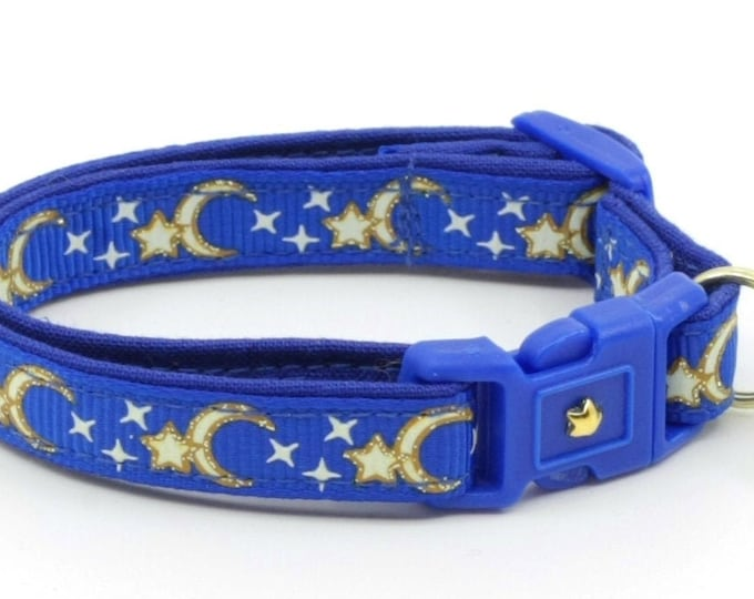 Moon Cat Collar - Gold Moons and Stars on Royal Blue - Breakaway Cat Collar - Kitten or Large size - Glow in the Dark B25D204