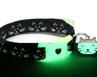 Glow in the Dark Cat Collar - Glowing Cat Faces on Black - Breakaway Cat Collar - Kitten or Large size