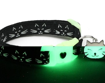 Glow in the Dark Cat Collar - Glowing Cat Faces on Black - Breakaway Cat Collar - Kitten or Large size