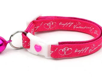Valentines Day Cat Collar - Happy Valentines Day on Bright Pink - Safety Cat Collar - Kitten or Large Size B77D80