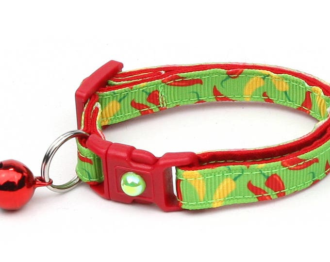 Pepper Cat Collar - Spicy Jalapeno Peppers on Lime Green - Small Cat / Kitten Size or Large Size