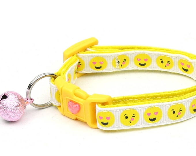 Emoji Cat Collar - Love Smiley Faces on White- Emoticon - Small Cat / Kitten Size or Large Size