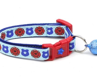 Police & Firefighter Collar - Fire and Police Badges on Blue - Kitten or Large Size - Breakaway Cat Collar B75P88F177