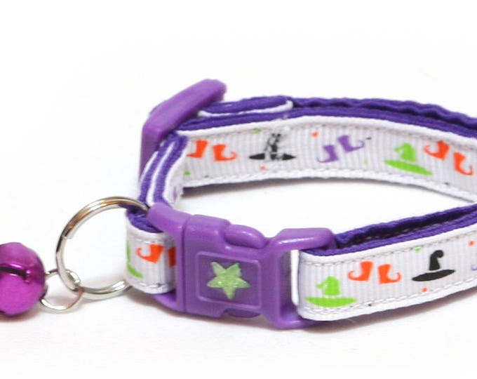 Halloween Cat Collar - A Witch's Wardrobe on White - Kitten or Large Size