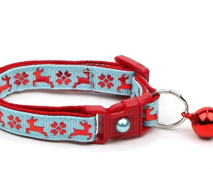 Christmas Cat Collar - Fair Isle Reindeer on Blue - Small Cat / Kitten Size or Large(standard) Size Collar