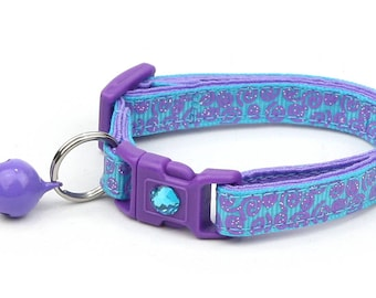 Blue Cat Collar - Purple Squiggles on Blue - Purple Swirls on Blue - Doodles - Kitten or Large Size
