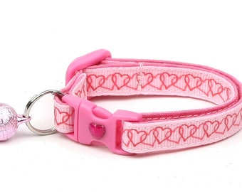 Valentines Day Cat Collar - Linked Hearts on Pink - Safety Breakaway - Kitten or Large Size
