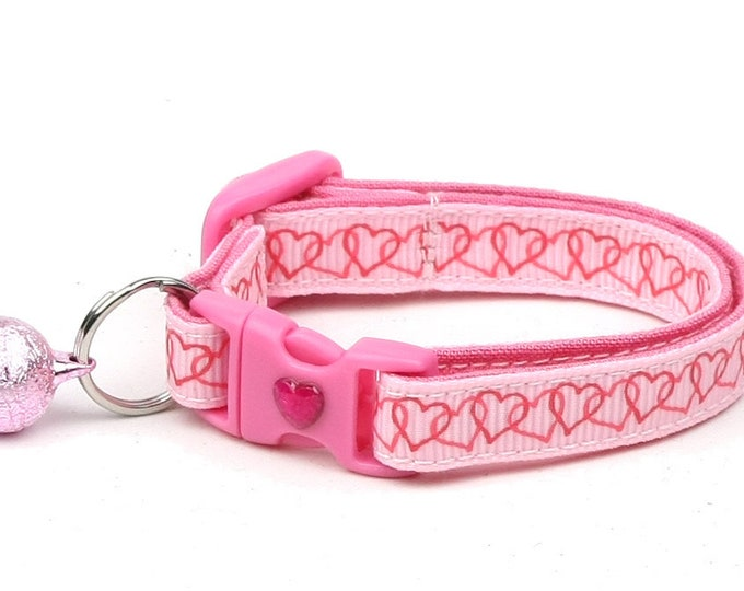 Valentines Day Cat Collar - Linked Hearts on Pink - Kitten or Large Size