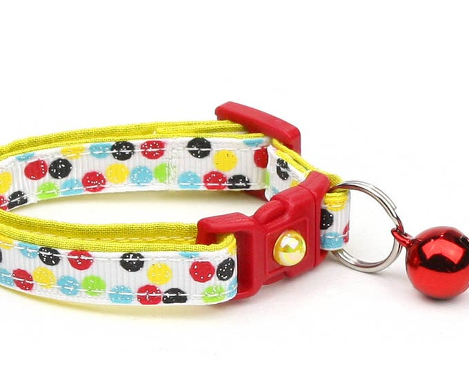 Colorful Cat Collar - Bright Primary Polka Dots - Small Cat / Kitten or Large Size B5
