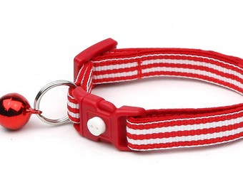 Striped Cat Collar - Horizontal Red and White Stripes  - Small Cat / Kitten Size or Large Size B111D211
