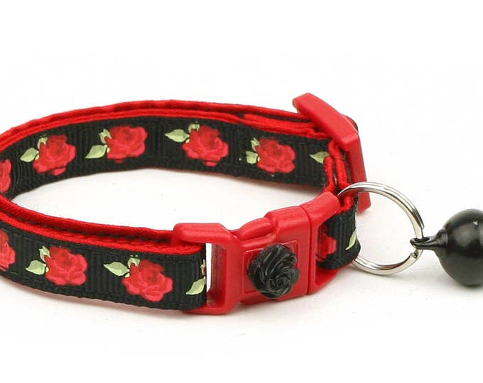 Floral Cat Collar - Red Tea Party Roses on Black - Small Cat / Kitten Size or Large Size