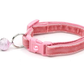 Soft Velvet Cat Collar - Dusty Rose-  Pink - Kitten or Large Size