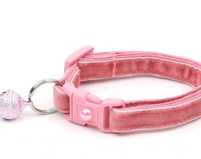 Soft Velvet Cat Collar - Dusty Rose-  Pink - Kitten or Large Size B8