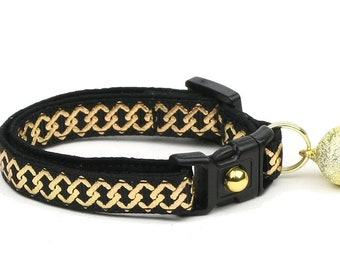 Celtic Knot Cat Collar - Gold Knots on Black - Small Cat / Kitten or Large Cat Collar - Breakaway