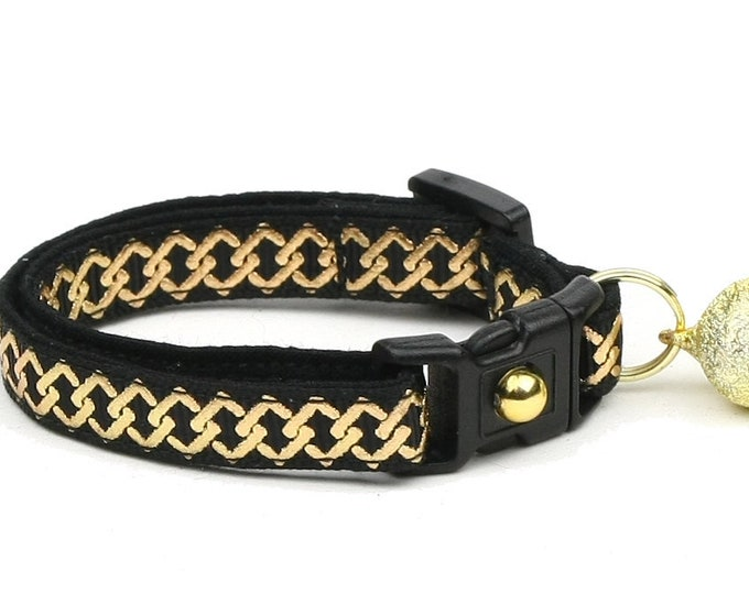 Celtic Knot Cat Collar - Gold Knots on Black - Small Cat / Kitten or Large Cat Collar