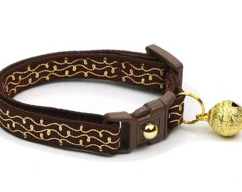 Brown Cat Collar - Gold Squiggles on Brown - Gold Swirls on Brown- Doodles - Kitten or Large Size B95D121