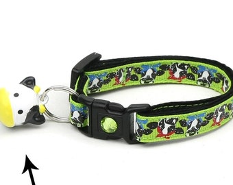 Farm Cat Collar - Cows on Green - Small Cat / Kitten Size or Large Size