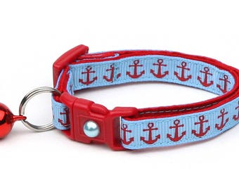 Nautical Cat Collar - Red Anchors on Blue -  Small Cat / Kitten or Large Size B92D104