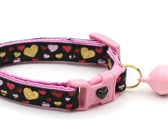 Valentines Day Cat Collar - Raining Hearts on Black - Kitten or Large Size
