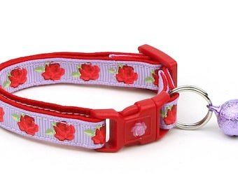Floral Cat Collar - Red Tea Party Roses on Purple- Small Cat / Kitten Size or Large Size B95D55