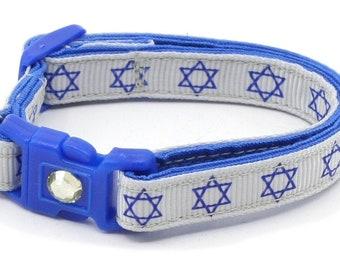 Hanukkah Cat Collar - Star of David on Silver - Small Cat / Kitten Size or Large Size B35D109