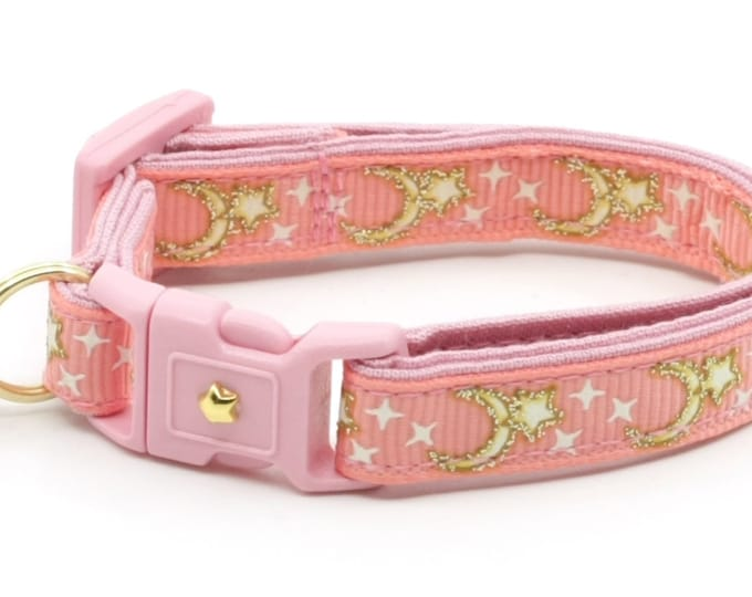 Moon Cat Collar - Gold Moons and Stars on Coral Pink - Breakaway Cat Collar - Kitten or Large size - Glow in the Dark B4