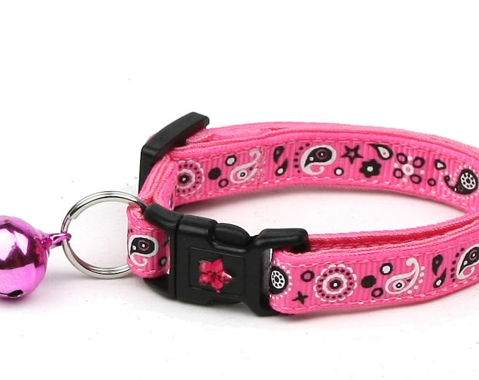 Bandana Cat Collar - Pink Bandana Paisley - Safety Breakaway - Cowgirl - Western