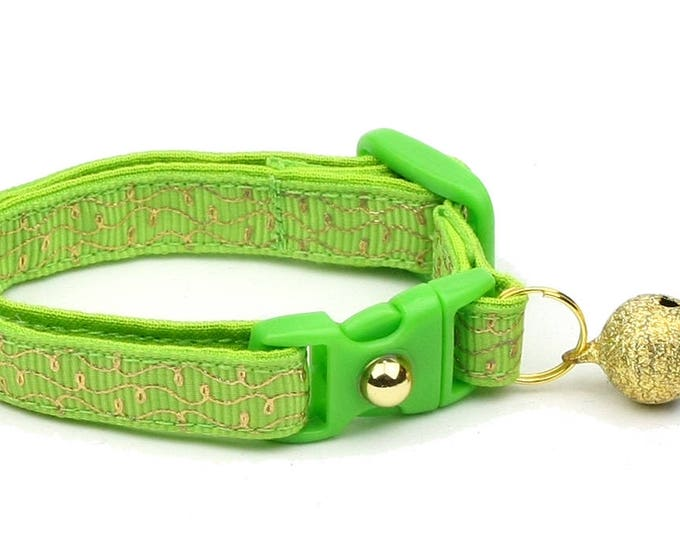 Green Cat Collar - Gold Squiggles on Bright Green - Gold Swirls on Lime - Doodles - Kitten or Large Size B69D87