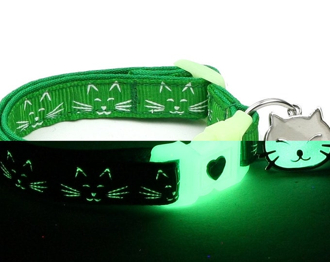 Glow in the Dark Cat Collar - Glowing Cat Faces on Green - Breakaway Cat Collar - Kitten or Large size