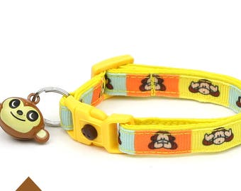 Monkey Cat Collar - Cheeky Monkeys - Small Cat / Kitten Size or Large Size