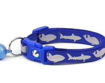 Shark Cat Collar - Silver Sharks on Royal Blue - Kitten or Large Size - Nautical B47D161