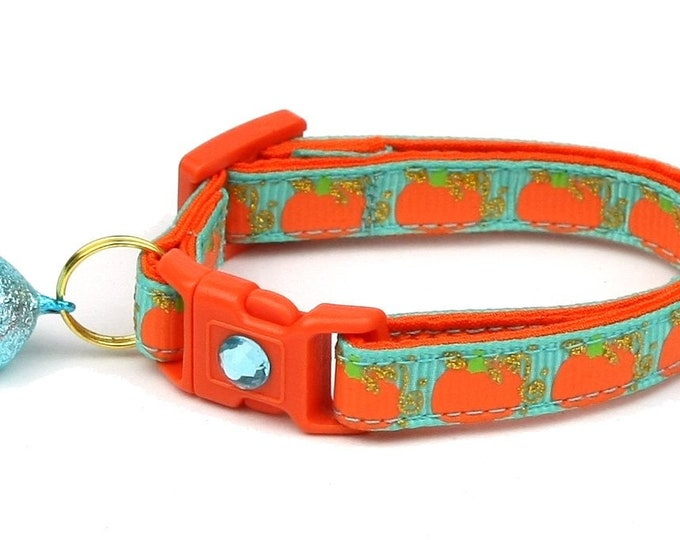 Pumpkin Cat Collar - Pumpkins and Gold on Teal - Small Cat / Kitten Size or Standard / Large Size Collar