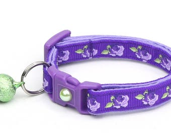 Floral Cat Collar - Purple Tea Party Roses on Purple - Small Cat / Kitten Size or Large Size D37