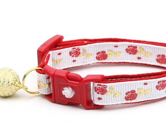 Floral Cat Collar - Red Roses and Gold Stems on White - Small Cat / Kitten Size or Large Size D55