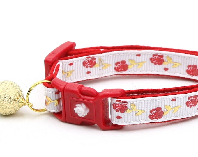 Floral Cat Collar - Red Roses and Gold Stems on White - Small Cat / Kitten Size or Large Size