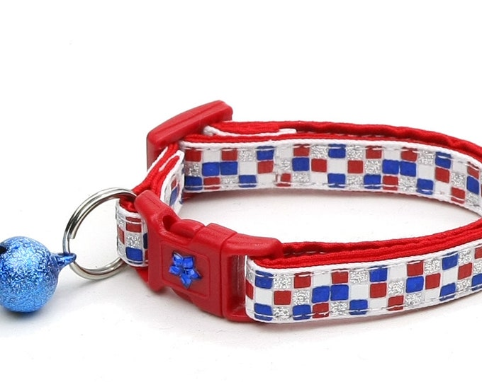 American Flag Cat Collar - Patriotic Patchwork on White - Kitten or Large Size B46