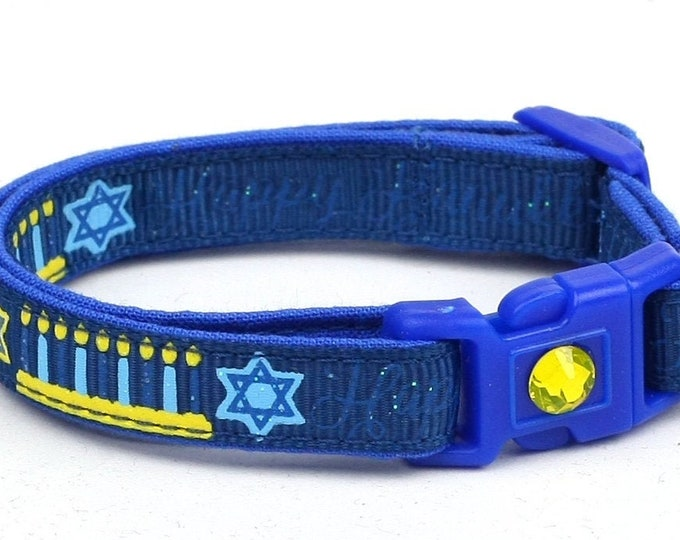 Hanukkah Cat Collar - Happy Hanukkah on Navy - Small Cat / Kitten Size or Large Size