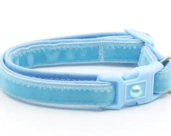 Soft Velvet Cat Collar - Baby Blue - Kitten or Large Size B119D154